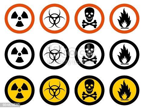 Dangerous concept. Set of different signs of chemical, radioactive, toxic, poisonous, hazardous substances. Vector illustration.
