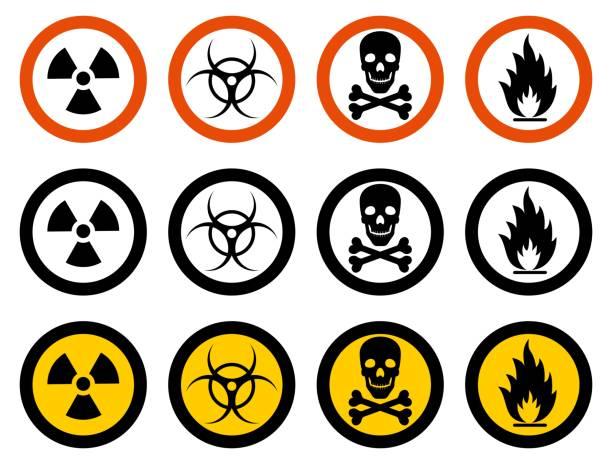 산업 개념입니다. 다른 징후의 세트: 화학, 방사성, 위험, 독성, 독성, 유해 물질. 벡터 일러스트입니다. - 독성 물질 stock illustrations