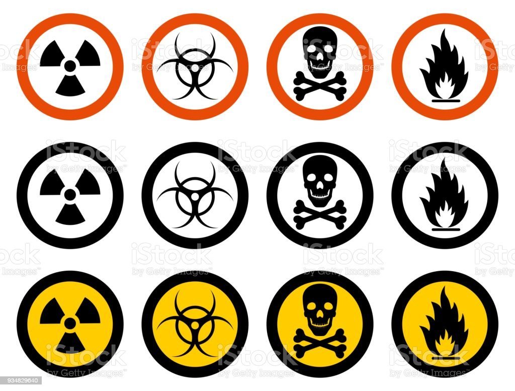 Industry concept. Set of different signs: chemical, radioactive, dangerous, toxic, poisonous, hazardous substances. Vector illustration. vector art illustration