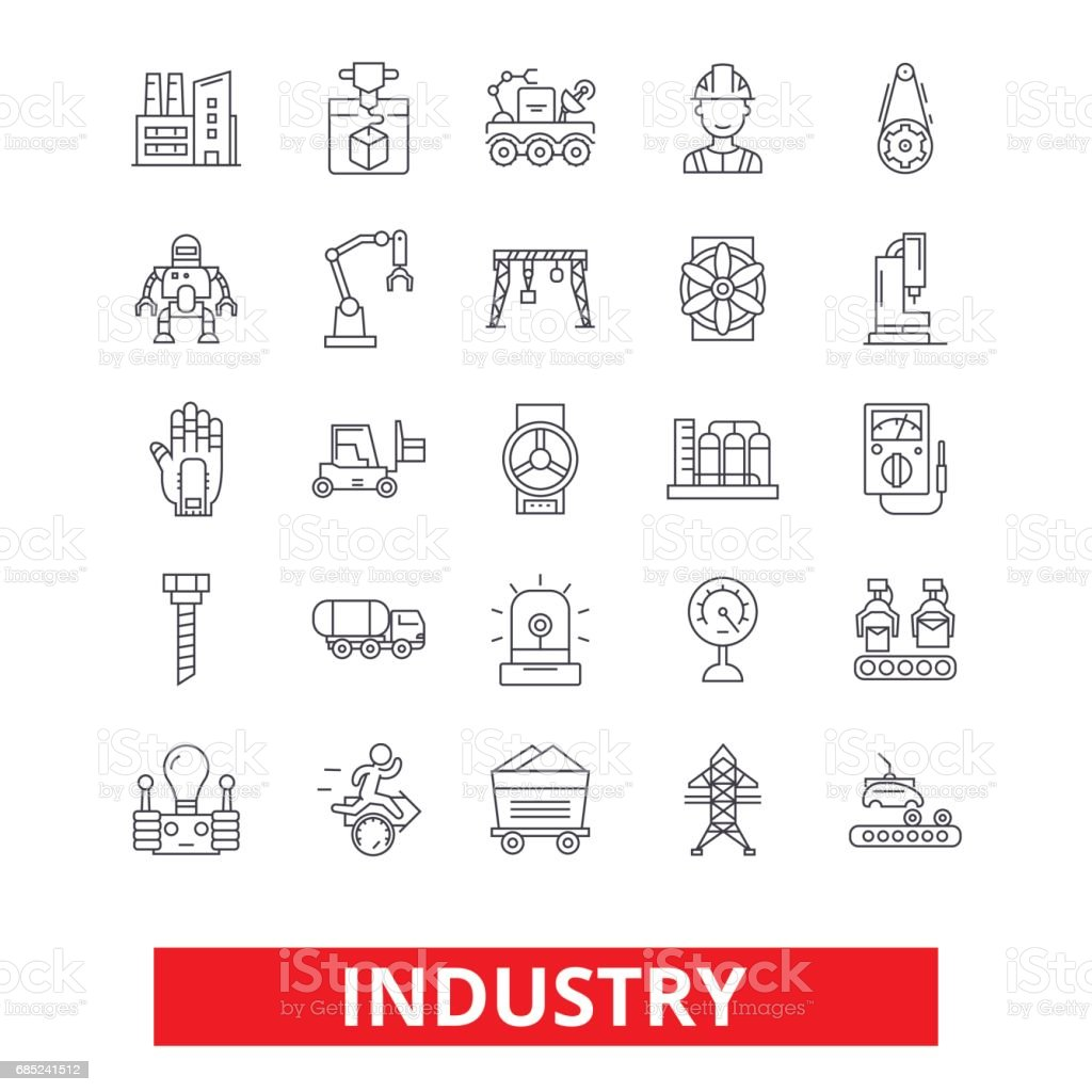 Industry, factory, manufacturing, assembly, engineering, industrial plant worker line icons. Editable strokes. Flat design vector illustration symbol concept. Linear signs isolated on white background industry factory manufacturing assembly engineering industrial plant worker line icons editable strokes flat design vector illustration symbol concept linear signs isolated on white background - arte vetorial de stock e mais imagens de arte plana royalty-free
