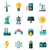 Vector Set of Industry Flat Icons
