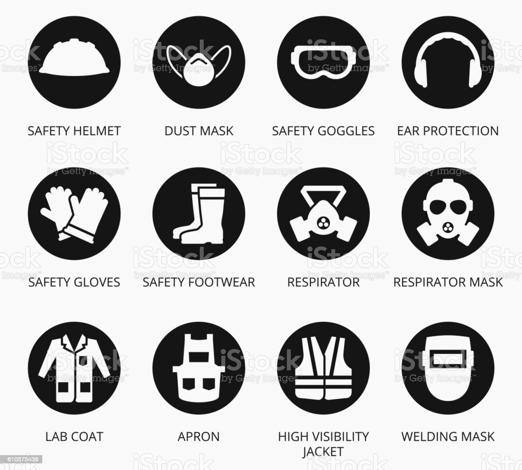 Industry health and safety protection equipment icons vector art illustration