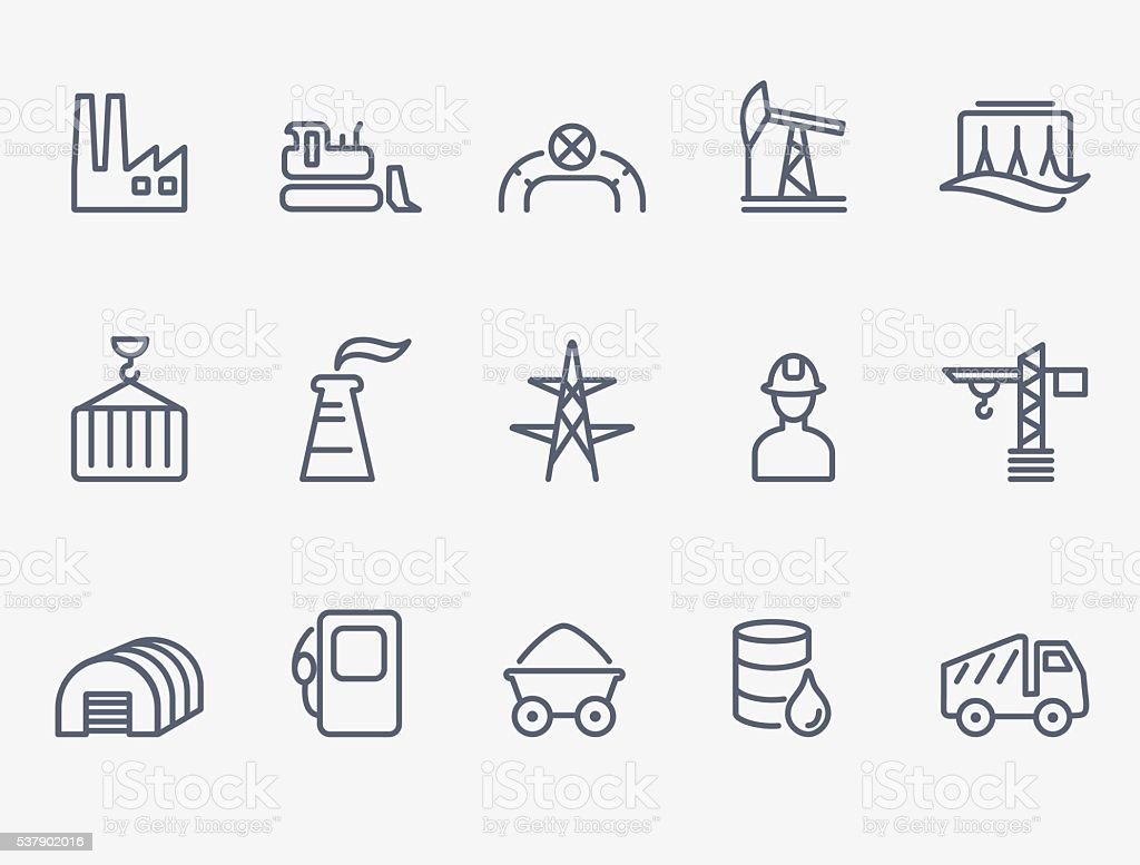 Industry icon set vector art illustration