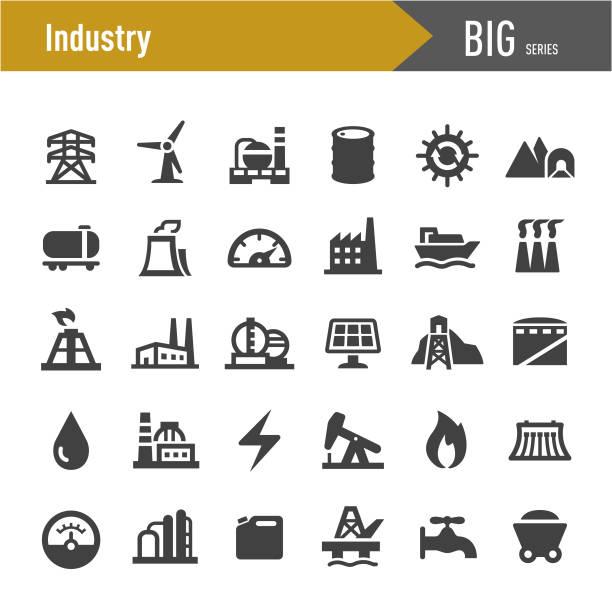 illustrazioni stock, clip art, cartoni animati e icone di tendenza di industry icons - big series - combustibile fossile
