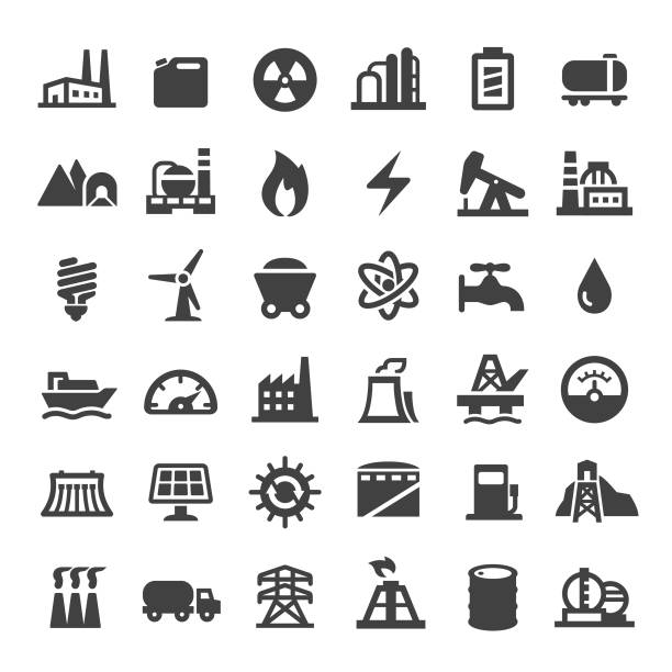 Industry Icons - Big Series Industry, Buildings, factory, fuel and power generation, factory stock illustrations