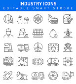 Industry vector icons with nuclear, transportation, sun battery and business symbols