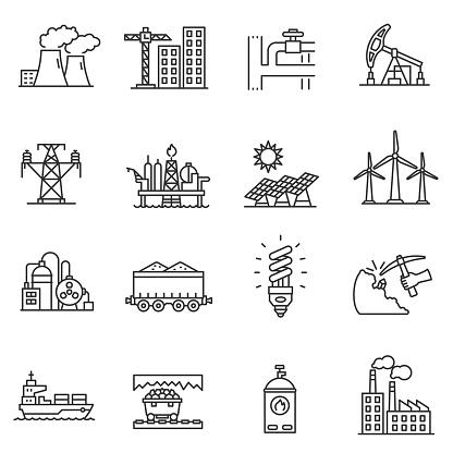 Industry icons set. Editable stroke