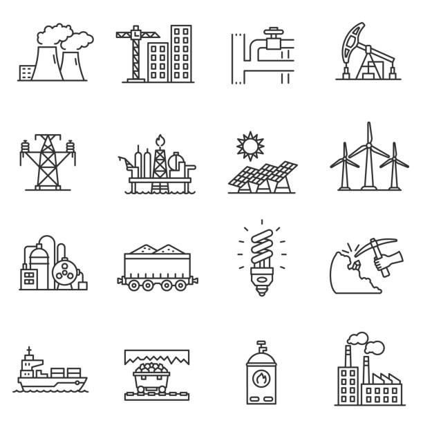 industry icons set. editable stroke - solar panels stock illustrations
