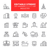 Fuel and power generation, industry, editable stroke, outline, icon, icon set, mining, oil industry, gas industry, factory