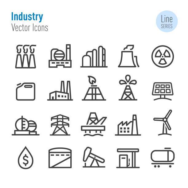 ilustraciones, imágenes clip art, dibujos animados e iconos de stock de iconos de la industria - vector línea serie - manufacturing