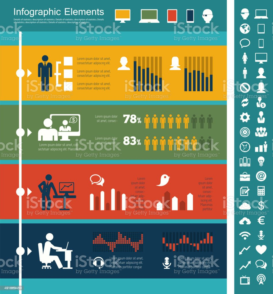 IT Industry Infographic Elements royalty-free it industry infographic elements stock vector art & more images of adult