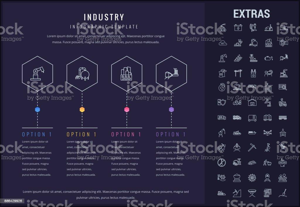 Los iconos, los elementos y plantilla de infografía de la industria - ilustración de arte vectorial