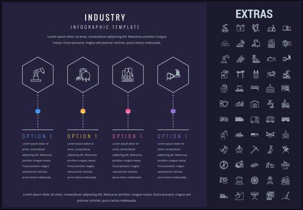 ilustraciones, imágenes clip art, dibujos animados e iconos de stock de los iconos, los elementos y plantilla de infografía de la industria - infografías de industria