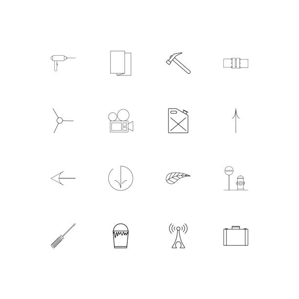 Industry linear thin icons set. Outlined simple vector icons vector art illustration