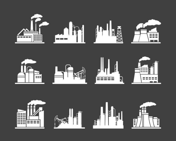 illustrations, cliparts, dessins animés et icônes de manufactory icônes de l'industrie du bâtiment - infographie industrie manufacture production