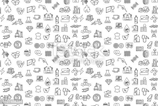 industry outline icon set pattern seamless