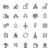 Industry - 25 Outline Style - Single black line icons - Pixel Perfect / Pack #05 / Icons are designed in 48x48pх square, outline stroke 2px.  First row of outline icons contains: Truck, Oil Pump, Power Station, Oil Refinery, Factory;  Second row contains: Storage Tank, Gas Pipe, Radioactive, Solar Panel, Energy;  Third row contains: Gears, Crude Oil, Wind Turbine, Lightning, Outlet;  Fourth row contains: Gas Can, Oil Platform, Exchange, Natural Gas, Oil Drum;  Fifth row contains: Crane, Percent, Oil Tower, Gas Pump, Power Line.  Complete Grandico collection - https://www.istockphoto.com/collaboration/boards/FwH1Zhu0rEuOegMW0JMa_w