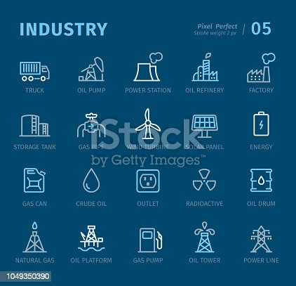 Industry - 20 three-color outline icons with captions / Pixel Perfect Set #05 Icons are designed in 48x48pх square, outline stroke 2px.  First row of outline icons contains: Truck, Oil Pump, Power Station, Oil Refinery, Factory;  Second row contains: Storage Tank, Gas Pipe, Wind Turbine, Solar Panel, Energy;  Third row contains: Gas Can, Crude Oil, Outlet, Radioactive, Oil Drum;  Fourth row contains: Natural Gas, Oil Platform, Gas Pump, Oil Tower, Power Line.  Complete Captico icons collection - https://www.istockphoto.com/collaboration/boards/L98ewPMHpUStg1uF0pmcYg
