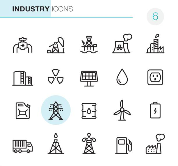 Industry - Pixel Perfect icons 20 Outline Style - Black line - Pixel Perfect icons / Set #6 oil drum stock illustrations