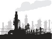 Silhouette vector illustration of a factory with smoke coming out of one of the chimneys
