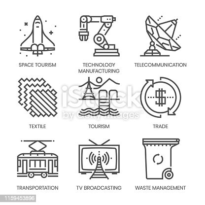 Industry related, square line vector icon set for applications and website development. The icon set is pixelperfect with 64x64 grid. Crafted with precision and eye for quality.