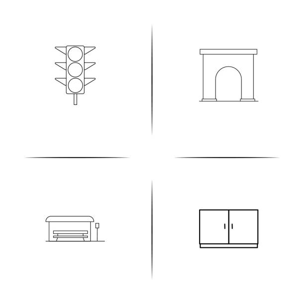 Industry simple linear icon set. Outline icons vector art illustration