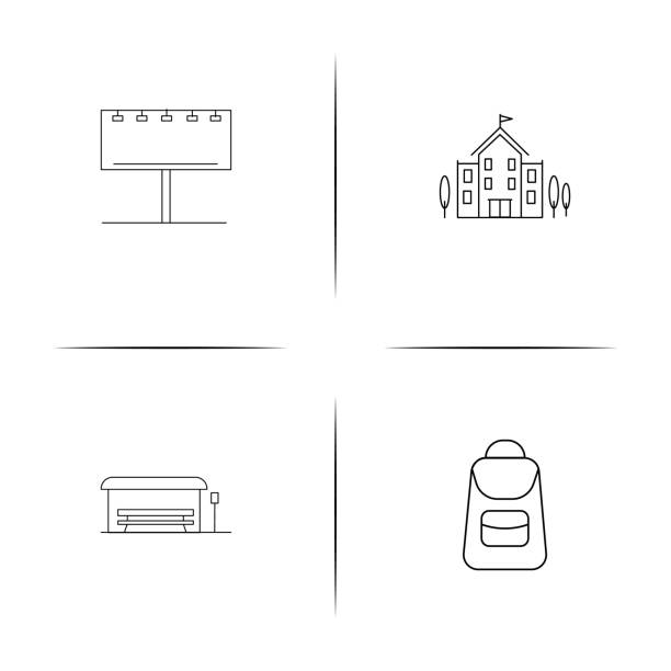 Industry simple linear icon set.Simple outline icons vector art illustration