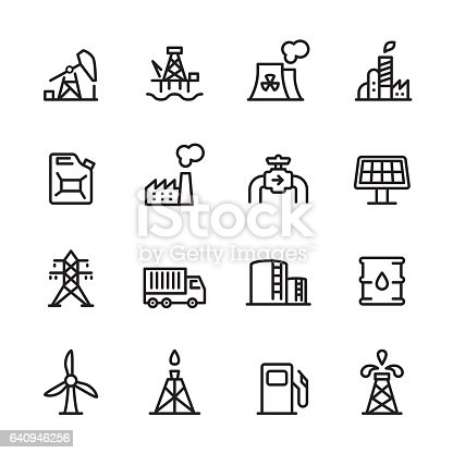 16 line black and white icons / Set #11