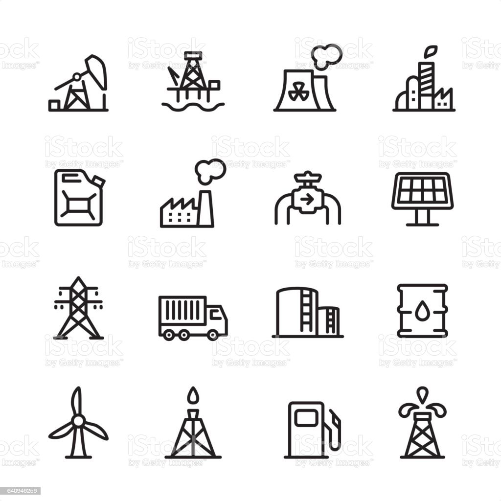 Industry Station - outline icon set vector art illustration