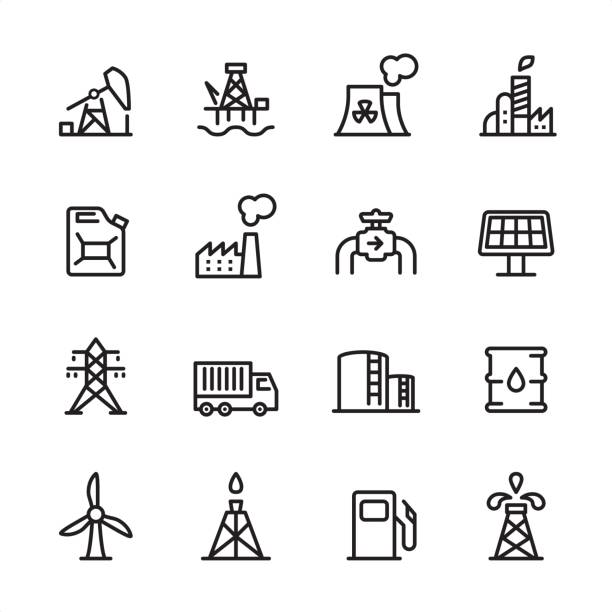 illustrazioni stock, clip art, cartoni animati e icone di tendenza di industry station - outline icon set - benzina