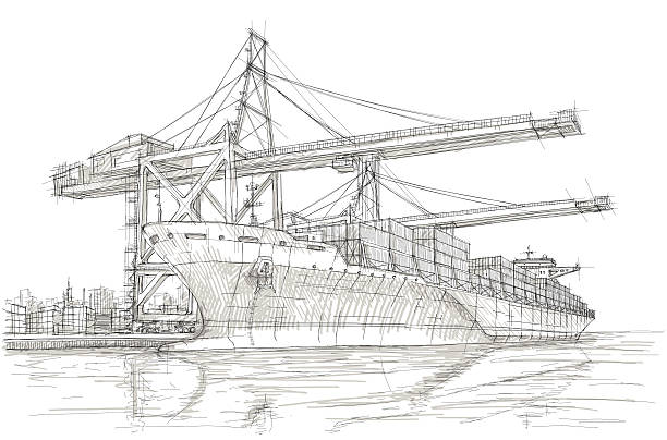 ilustrações de stock, clip art, desenhos animados e ícones de sector da indústria - porto