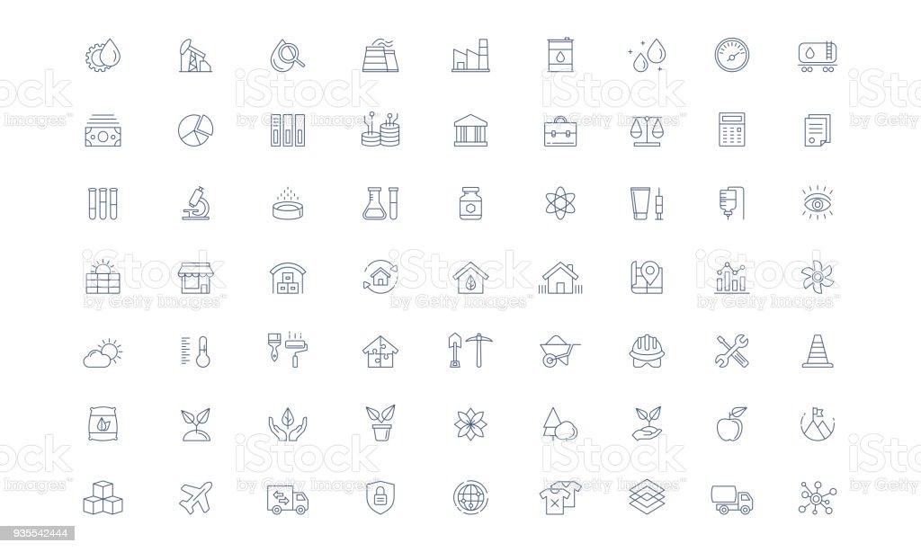 Jeu d'icônes de l'industrie ligne vectorielle - Illustration vectorielle