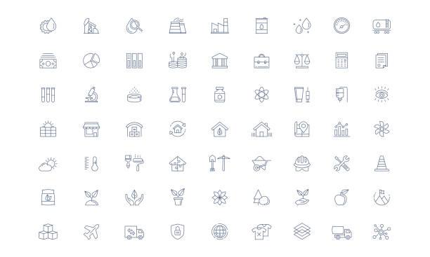 ilustrações de stock, clip art, desenhos animados e ícones de industry vector line icon set - agricultura