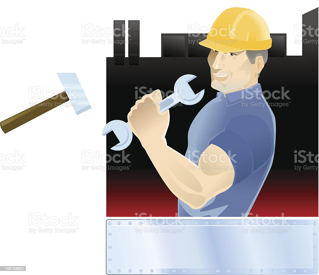 Industry worker with tools and copy space royalty-free stock vector art