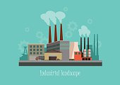 Industryal background - industry factory. Flat style vector illustration
