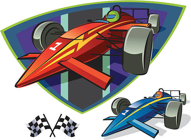 Indy Race Cars and Checkered Flags This is a vector illustration of open wheel race cars and checkered flags. Indy 500 indy racing league indycar series stock illustrations