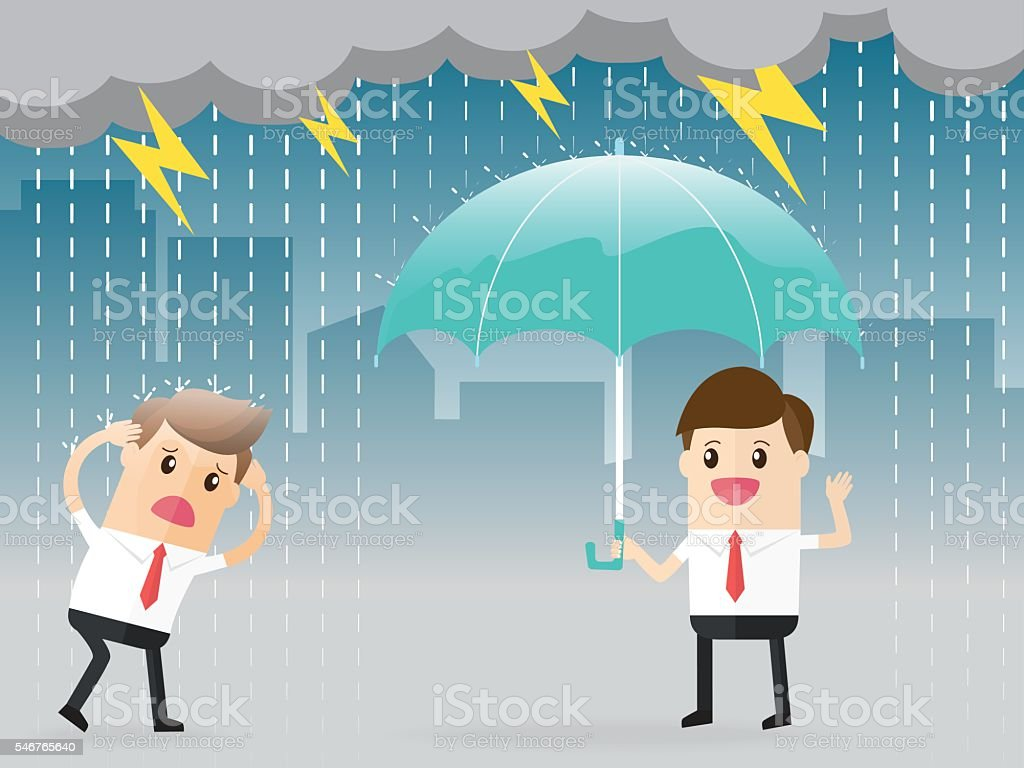 inequality between businessman standing with umbrella and another vector art illustration