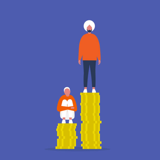 Inequality. Characters sitting and standing on the stacks of coins. Different salaries. Career opportunities. Discrimination. Inequality. Characters sitting and standing on the stacks of coins. Different salaries. Career opportunities. Discrimination. cisgender stock illustrations
