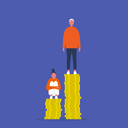 Inequality. Characters sitting and standing on the stacks of coins. Different salaries. Career opportunities. Discrimination. Sexism