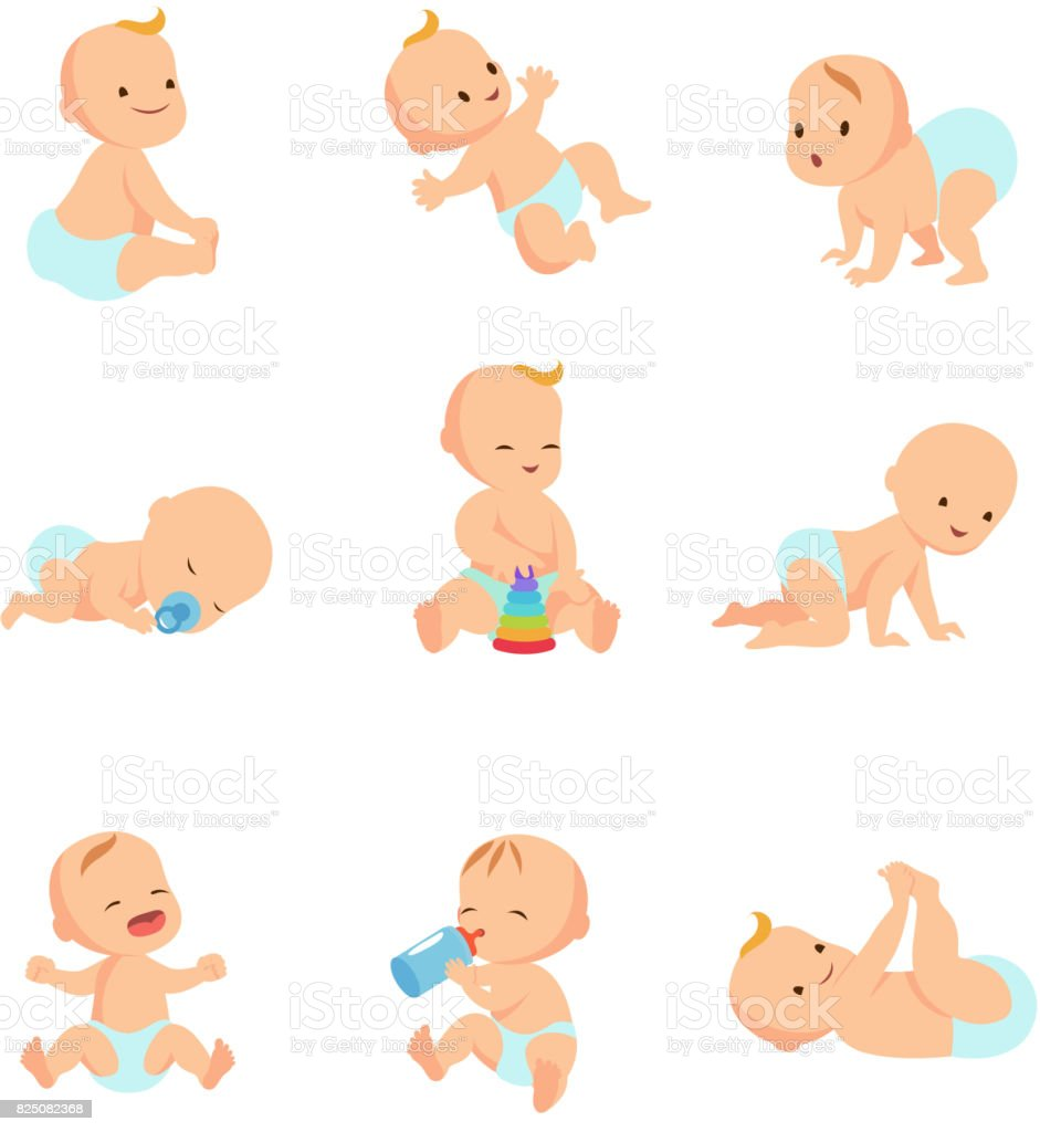 Infant baby vector characters. Newborn in different activity isolated on white vector art illustration