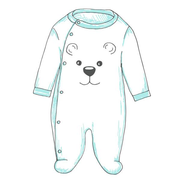 baby body mit einem bären gesicht. skizze - bodysuit stock-grafiken, -clipart, -cartoons und -symbole
