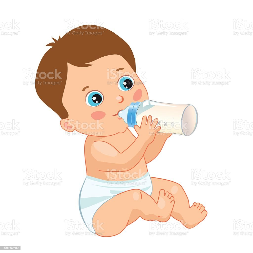 royalty free baby drinking water clip art, vector images