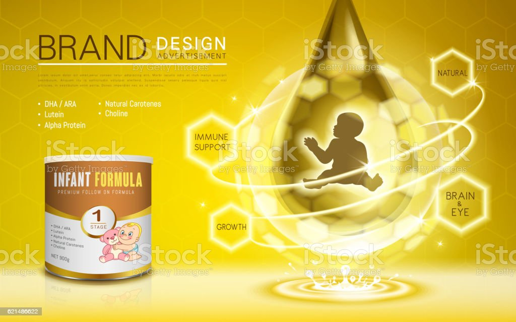Infant formula advertisement Lizenzfreies infant formula advertisement stock vektor art und mehr bilder von auge