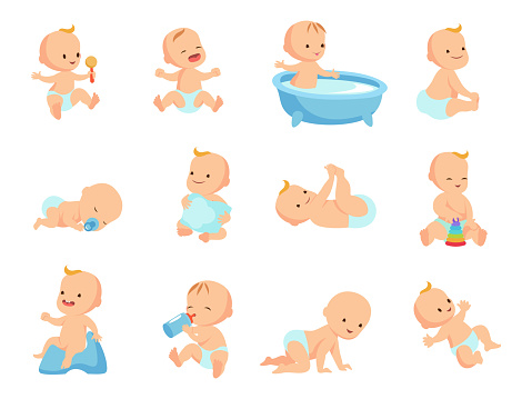 Infant newborn baby big set in different activity isolated on white