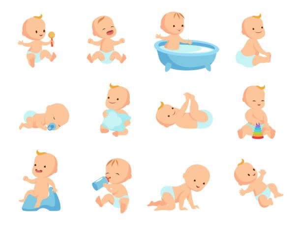 大きな新生児乳児を白で隔離別の活動に設定 - 赤ちゃん点のイラスト素材/クリップアート素材/マンガ素材/アイコン素材