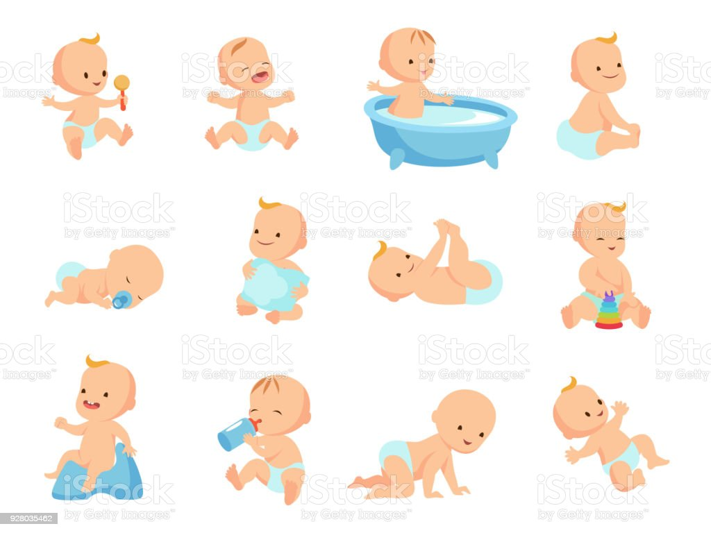 Infant newborn baby big set in different activity isolated on white vector art illustration