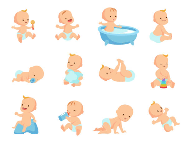 Bекторная иллюстрация Infant newborn baby big set in different activity isolated on white