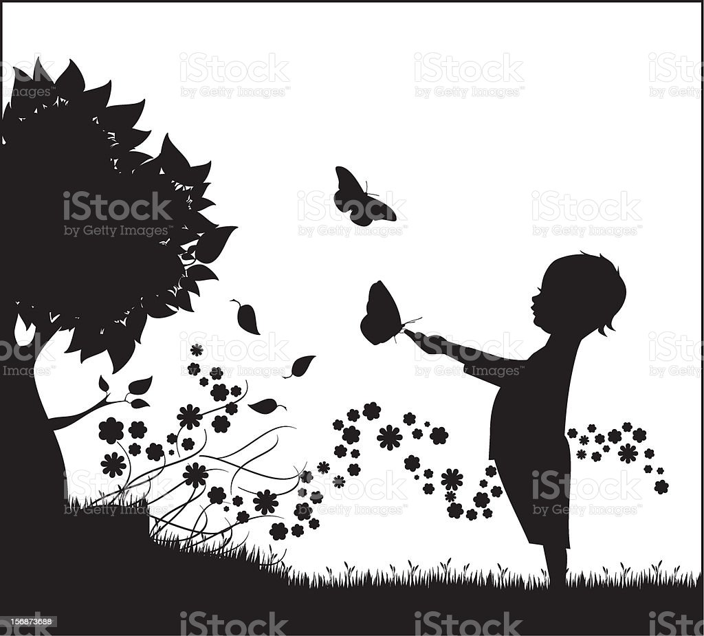 infant with butterflies royalty-free stock vector art