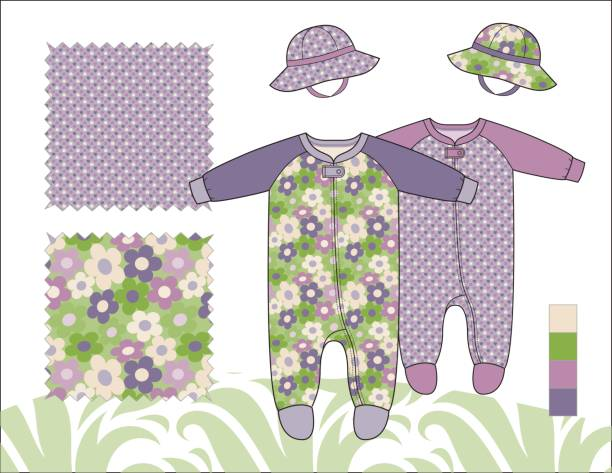 bildbanksillustrationer, clip art samt tecknat material och ikoner med infant_girl_coveralls_with_hats_pattern - hui style
