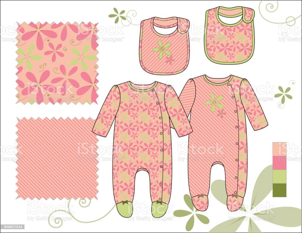 Infant_Girl_Kimono_with_Bibs_Floral_Stripes_illustration vector art illustration